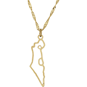 Goldfilled Israel Map Necklace