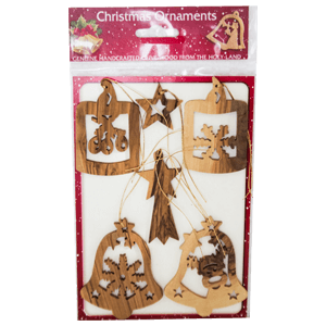 Olive Wood Christmas Ornaments, Set of 6