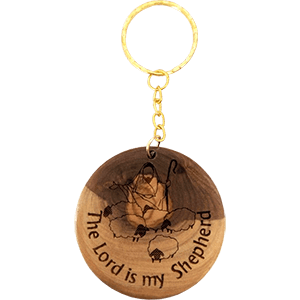 The Lord Is My Shepherd Olive Wood Keychain