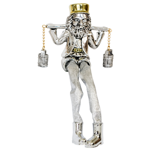Sitting Silver Plated Water Carrier Figurine