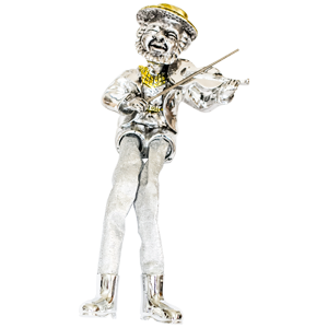 Sitting Silver Plated Violin Figurine