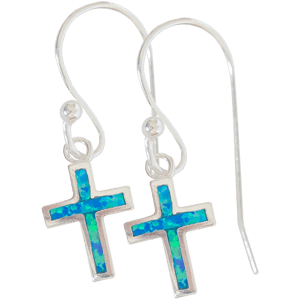 Sterling Silver Synthetic Opal Cross Fishhook Earrings