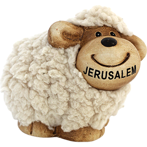 Smiling Ceramic and Plush Jerusalem Sheep