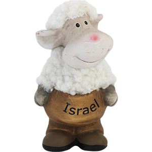 Standing Ceramic and Plush Isreal Sheep