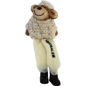 Sitting Ceramic and Plush Jerusalem Sheep