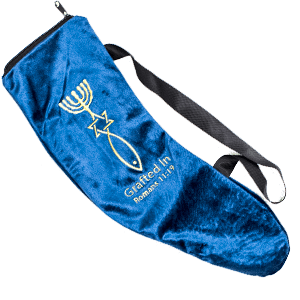 Embroidered Grafted In Blue Small Shofar Bag