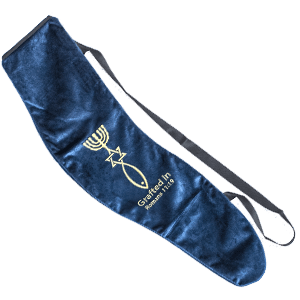 Embroidered Grafted In Blue Yemenite Shofar Bag