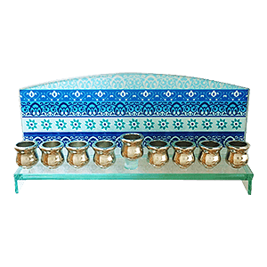 Beautiful Blue Glass Hanukkah Menorah