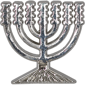 Menorah Silver Colored Lapel Pin