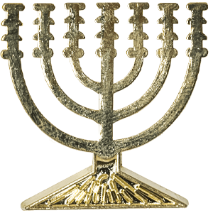Menorah Gold Colored Lapel Pin