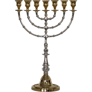 Silver & Gold Plated Tall Menorah