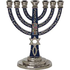 Brass with Blue Enamel Messianic Menorah