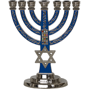 Breastplate & Star of David Blue Enamel Menorah, 2 sizes