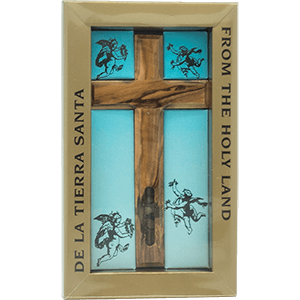 Olive wood Cross with Integrated Holy Land Elements