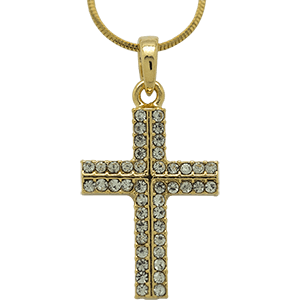 Yellow Rhodium Cross with Clear Crystals