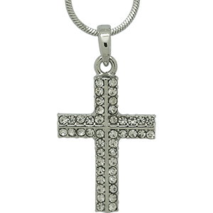 White Rhodium Cross with Clear Crystals