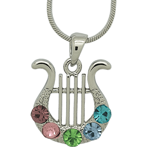 Rhodium David's Harp Pendant with Multi-Colored Stones