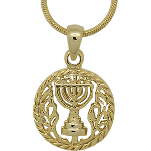 Yellow Rhodium Emblem of Israel Pendant