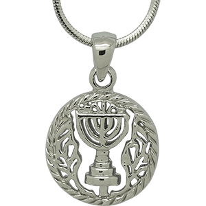 White Rhodium Emblem of Israel Pendant