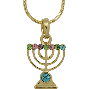 Yellow Rhodium Menorah Pendant with Multi-Color Crystals