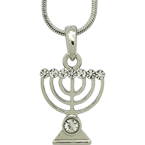 White Rhodium Menorah Pendant with Clear Crystals