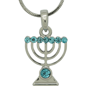 White Rhodium Menorah Pendant with Blue Crystals