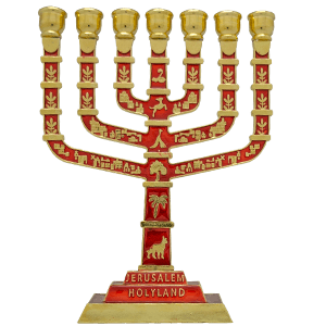 12 Tribes of Israel Brass with Red Enamel Menorah