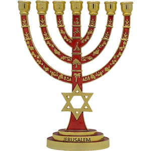 Star of David Menorah Brass with Red Enamel
