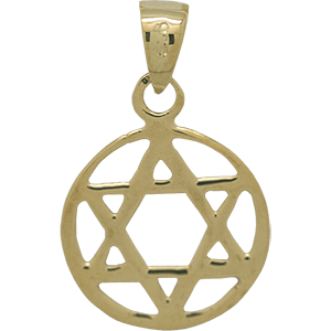 Encircled Star of David Gold Plated Pendant