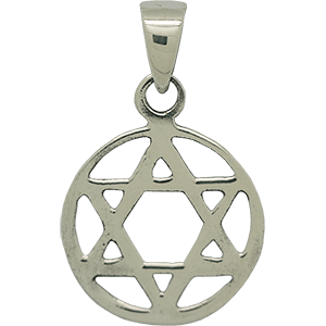 Encircled Star of David Silver Pendant