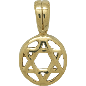 Small Encircled Star of David Gold Plated Pendant