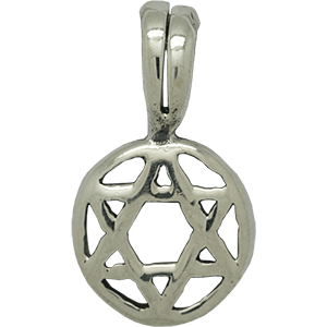 Small Encircled Star of David Silver Pendant