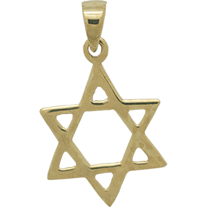 Smooth Gold Plated Star of David Pendant