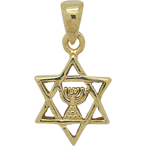 Gold Plated Star of David with Menorah Pendant