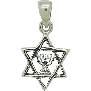Sterling Silver Star of David with Menorah