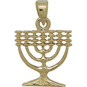 Gold Plated Menorah Pendant