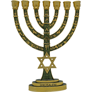 Star of David Menorah Brass with Green Enamel