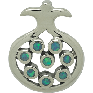 Silver Pomegranate Pendant with Blue Stones