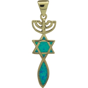 Synthetic Opal Gold Plated Grafted In Pendant