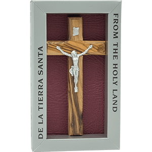 Olive Wood Cross with 3 Holy Land Elements