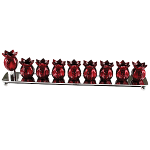 Hanukkah Menorah with Red Pomegranates