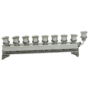 Elegant Linear Nickel Plated Hanukkah Menorah