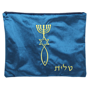Blue Velvet Tallit Bag with Gold Grafted In