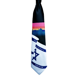 Black Israeli Flag Neck Tie