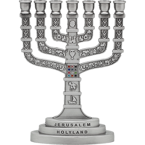 Nickle Plated 12 Tribes Jerusalem Menorah, 2 heights