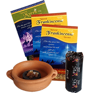SAVE 15%! Biblical Christmas Incense plus Censer and Charcoal