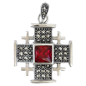 Large Silver Jerusalem Cross with Red Stone
