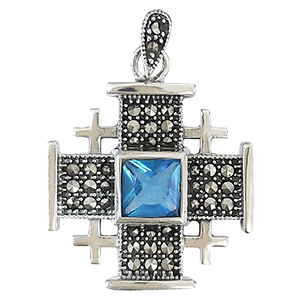 Large Silver Jerusalem Cross with Light Blue Stone