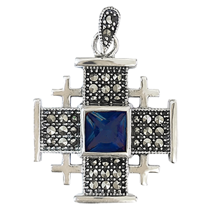 Large Silver Jerusalem Cross with Dark Blue Stone
