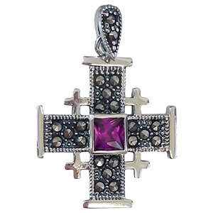 Small Silver Jerusalem Cross with Purple Stone